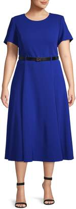 Calvin Klein Plus Belted Flared Midi Dress