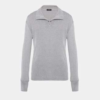 Theory Cotton Rib Half Zip Sweater