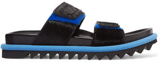 Dries Van Noten Calf Hair Platform Slides - Black