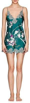 Carine Gilson Women's Lace-Trimmed Floral Silk Chemise