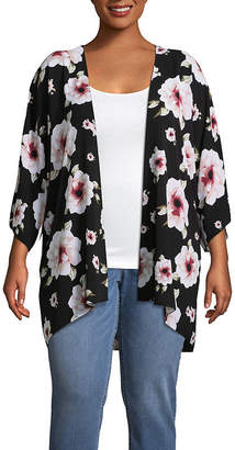 Boutique + + Short Sleeve Floral Kimono - Plus