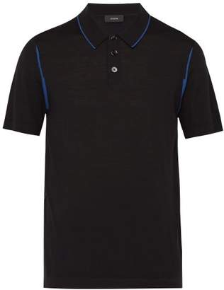 Joseph Stripe Merino Wool Polo Shirt - Mens - Black