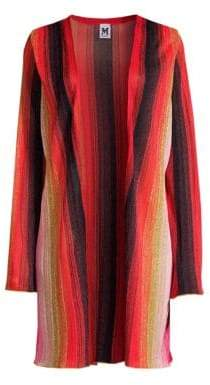 M Missoni Women's Striped Lurex Open-Front Cardigan - Pink Gold - Size 40 (4)