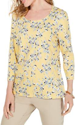 Karen Scott Petite Floral-Print Cotton Blend Top