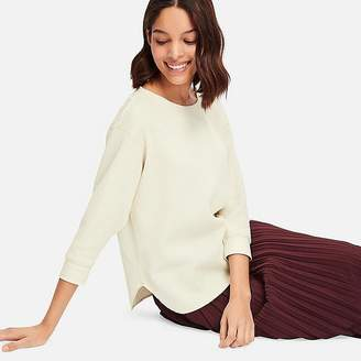 Uniqlo Women's Waffle Crew Neck 3/4 Sleeve T-Shirt