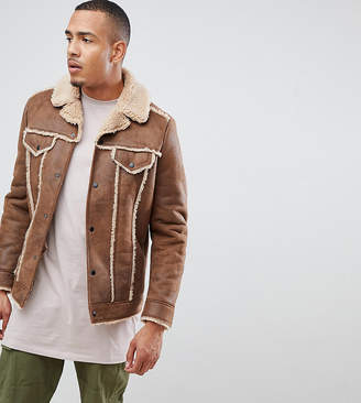 Asos Design DESIGN Tall western faux shearling jacket in brown