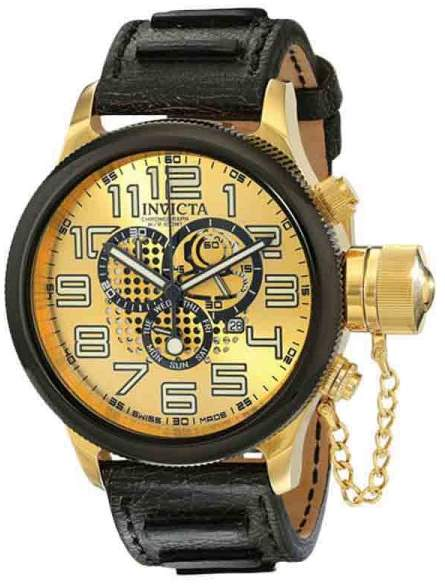 Invicta 14616 Russian Diver Gold Dial Leather Chronograph Men