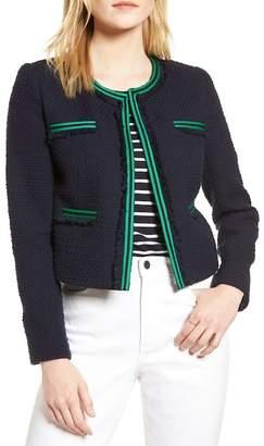 1901 Ribbon Trim Textured Cotton Open Front Jacket