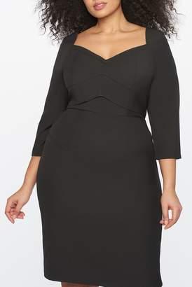 ELOQUII Sweetheart Neckline Seamed Sheath Dress (Plus Size)