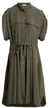 Chloé Drawstring Waist Silk Crepe De Chine Midi Dress - Womens - Green