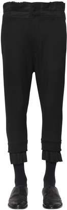 Ann Demeulemeester Cropped Wool Canvas Pants W/ Pleats