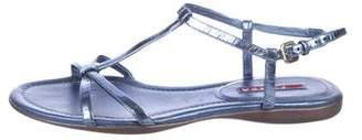 Prada Sport Patent Leather Ankle-Strap Sandals