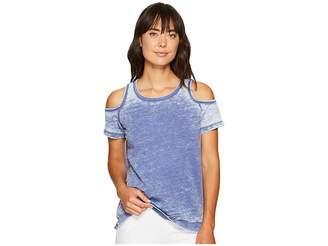 Allen Allen Short Sleeve Cold Shoulder Crew Top Women's Clothing