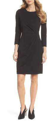 Eliza J Faux Wrap Ponte Sheath Dress