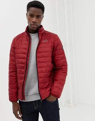 Jack Wills Nevis lightweight down puffer jacket in red