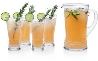 Libbey Monclova Glass Entertaining Set, 4- 16.75 ounce Drinking Glasses & 1- 60 ounce Pitcher, 5-piece