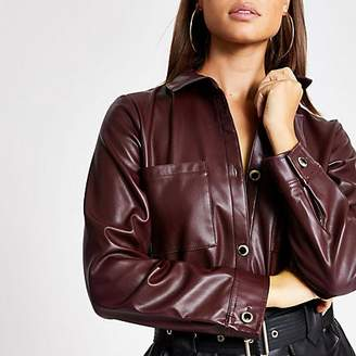 River Island Dark red faux leather long sleeve shirt