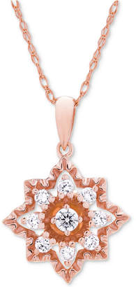 Wrapped in Love Diamond Openwork Star Pendant Necklace (1/3 ct. t.w.) in 14k Rose Gold