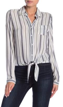 Dress Forum Striped Tie Front Button Down Shirt