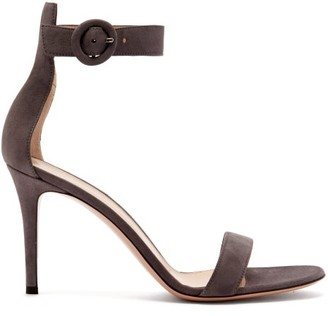 Gianvito Rossi Portofino 85 Suede Sandals - Womens - Grey