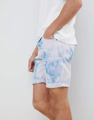 Asos DESIGN Denim Shorts In Slim Purple Tie- Dye