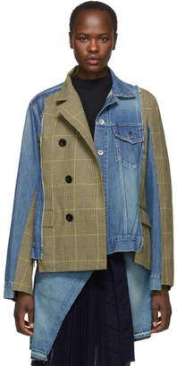 Sacai Blue and Beige Denim Glen Check Jacket