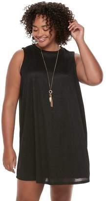 Heartsoul Juniors' Plus Size HeartSoul Necklace Swing Sweater Dress