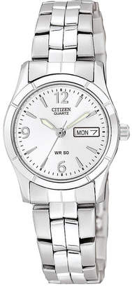 JCPenney Citizen Quartz Citizen Womens White Dial Stainless Steel Bracelet Watch EQ0540-57A