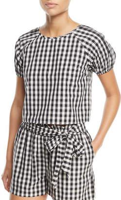 Joie Cirila Short-Sleeve Gingham-Print Cotton Top