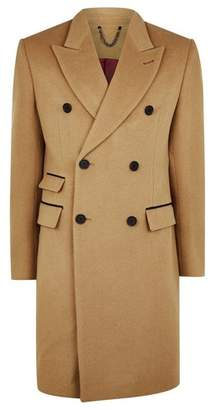 Topman Mens Brown Camel Wool Blend Double Breasted Overcoat