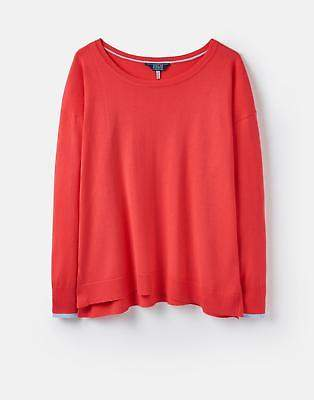 Joules 124602 Womens Lightweight Jumper with Curved Hem in Rose Hip
