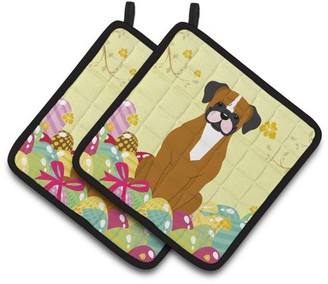 Caroline's Treasures Easter Eggs Flashy Fawn Boxer Pair of Pot Holders