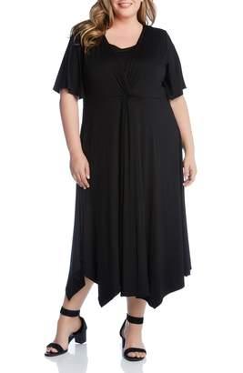 Karen Kane Asymmetrical Twist Front Maxi Dress