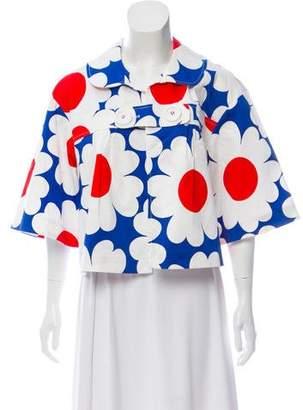 Tibi Floral Print Half-Sleeve Jacket