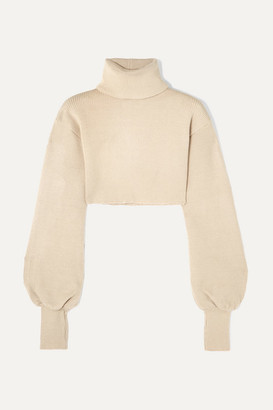BEIGE Orseund Iris - Cropped Ribbed-knit Turtleneck Sweater