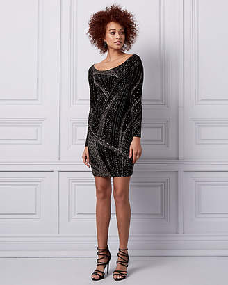 Le Château Sparkle Knit Boat Neck Cocktail Dress