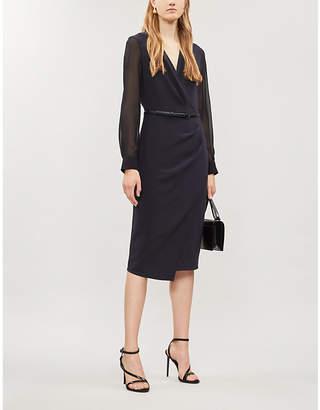 Max Mara Manuel wrap-front stretch-wool and silk dress