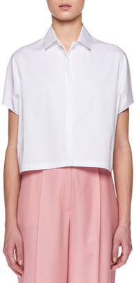 The Row Loha Button-Front Short-Sleeve Cropped Poplin Top
