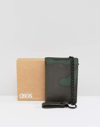 Asos Design Leather Wallet In Camo Print With Chain
