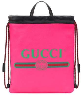 Gucci Print Small leather backpack