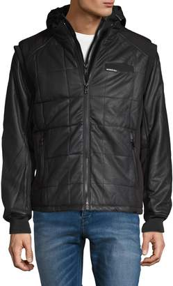Members Only Quilted Faux Leather Twofer Puffer Jacket