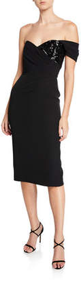 Milly Esme One-Sleeve Italian Cady Sheath Dress w/ Sequin Embellishment
