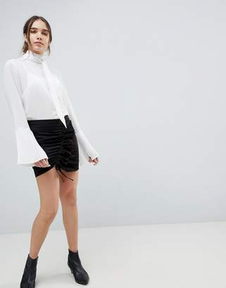 Minimum Gathered Front Mini Skirt