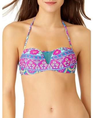 91bd80c909c No Boundaries Juniors  Printed Mesh Bandeau Halter Bikini Top