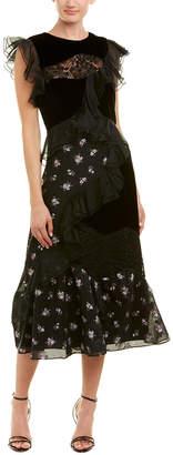 Rebecca Taylor Jacquard Silk-Blend Midi Dress