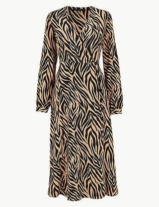 M&S Collection Animal Print Long Sleeve Wrap Midi Dress