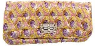 Miu Miu Crystal-Embellished Lamé Clutch