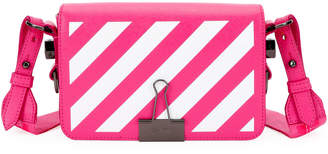 Off-White Off White Diagonal Stripe Mini Flap Clutch Bag with Binder Clip