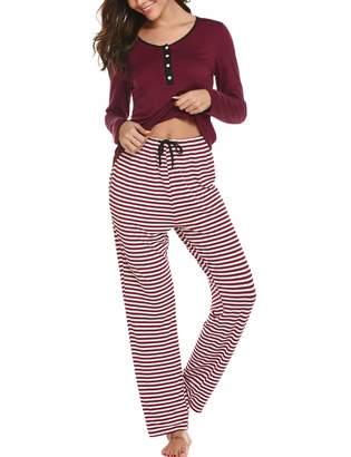 Ekouaer Sleepwear Women s Pajama Set Long Sleeve Top   Striped Lounge Pants  Loungewear 2 Piece PJ 956c671cb