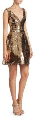 Monique Lhuillier Structured Sequin Cocktail Dress